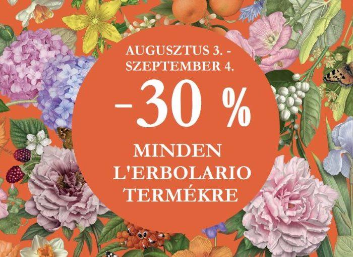 Most vásárolj L'Erbolario termékeket 30%-kal olcsóbban!